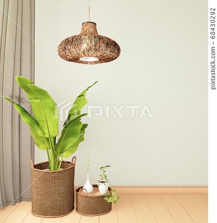 Plants decoration on empty room interior with 68430292