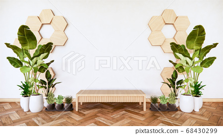 wooden low table  with wooden hexagon tiles on 68430299