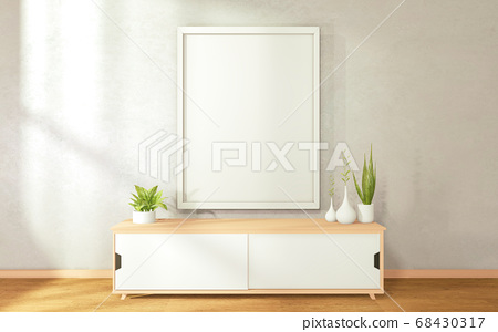 Tv cabinet in modern zen living room on white wall 68430317