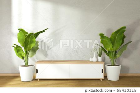 Tv cabinet in modern zen living room on white wall 68430318