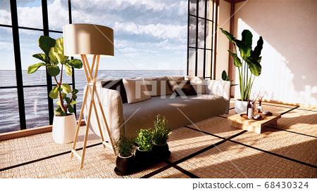 Sofa on empty room japanese design on tatami mat 68430324