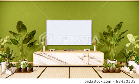 Tv cabinet in japanese living room on old green 68430335
