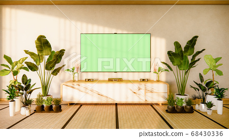 Tv cabinet in japanese living room on white wall 68430336