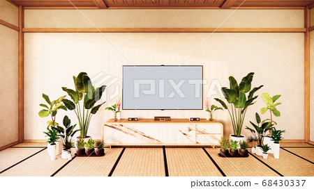 Tv cabinet in japanese living room on white wall 68430337