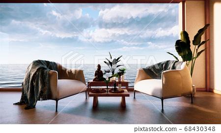 Japan room interior - Japanese style. 3D rendering 68430348