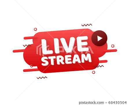 Live stream flat logo - red vector design element with play button. Vector illustration 68430504