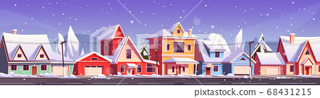 Winter street in suburb district with houses 68431215