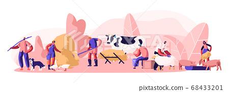 People Doing Farming Job Feeding Domestic Animals 68433201