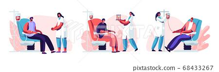 Volunteers Characters Sitting in Medical Hospital 68433267