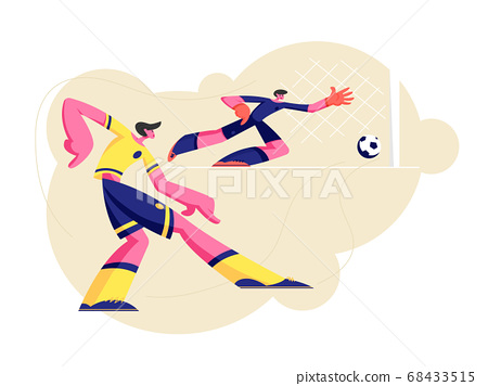 Men in Sports Uniform Practicing Football Game 68433515