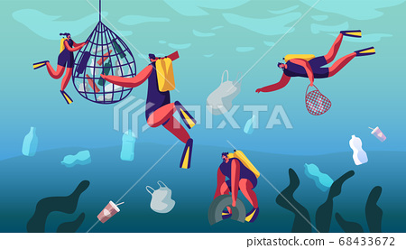 Scuba Divers Collecting Floating Sea Garbage 68433672