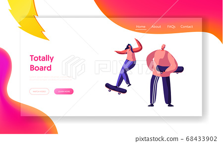 Male and Female Skateboarder Characters Jumping 68433902