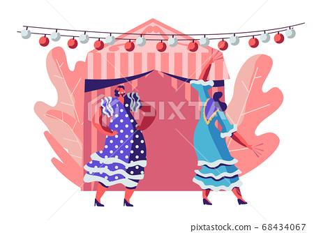 Beautiful Mexican Women Wearing Traditional 68434067