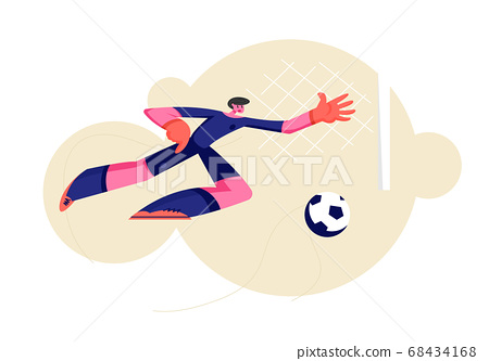 Goalkeeper Bouncing to Catch Ball at Football Game 68434168