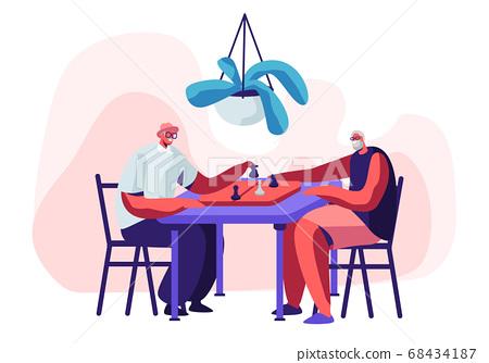Relaxing Senior Men Playing Chess in Nursing Home 68434187