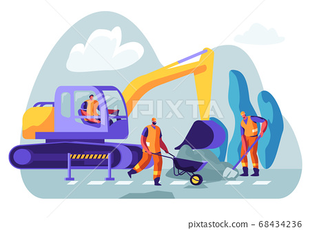 Excavator Dig Hole in Ground, Male Workers 68434236