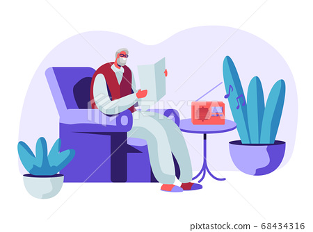 Senior Grey Haired Man in Glasses in Armchair 68434316