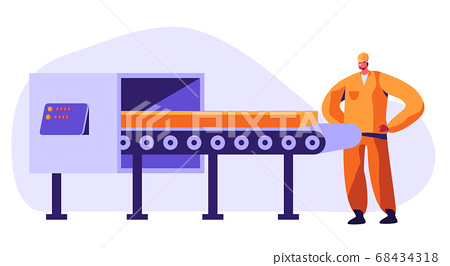 Metallurgy Worker Watching on Conveyor Belt 68434318
