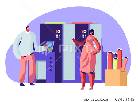Man and Woman Working in Printing House 68434445