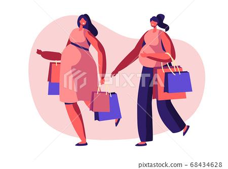 Couple of Beautiful Pregnant Women Going Shopping 68434628