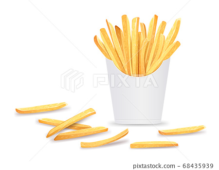 French fries in box template design. isolated on white  68435939
