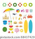 夏季海灘矢量插圖集 68437429