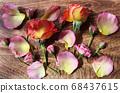 在木板上排隊的花的背景 68437615