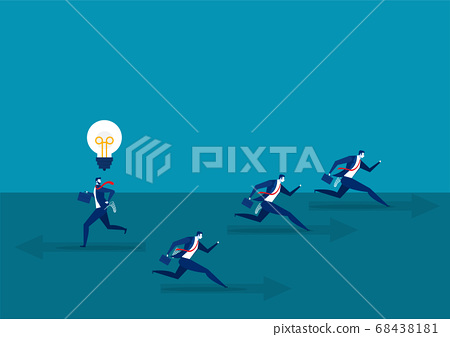 businessman running with Think different business direct concept to success Vector illustration. 68438181