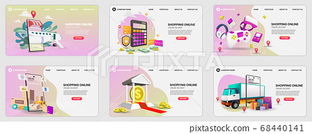 Set of web page design templates for Online 68440141