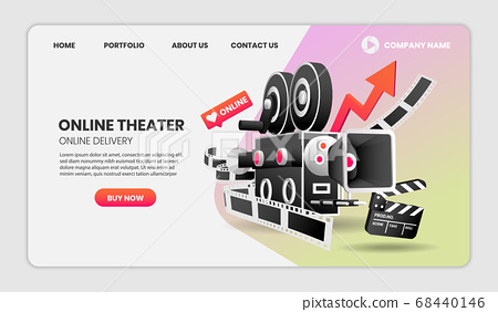 online Cinema service concept Illustration. with 68440146