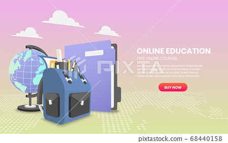 Education concept with school backpack and file 68440158