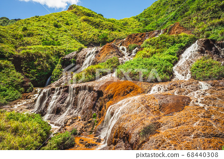 Scenery of Golden Waterfall in new taipei city, 68440308