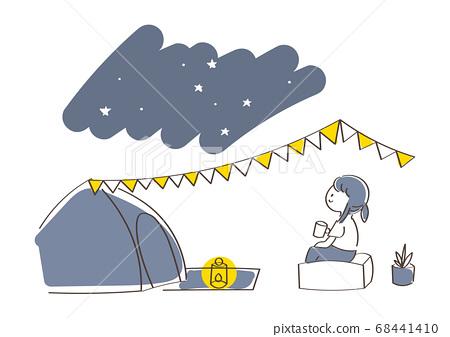 밤 캠프의 일러스트 68441410