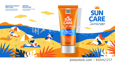 Sunscreen on flat style beach 68442157