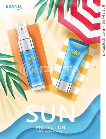Sunscreen lying on papercut beach 68442159