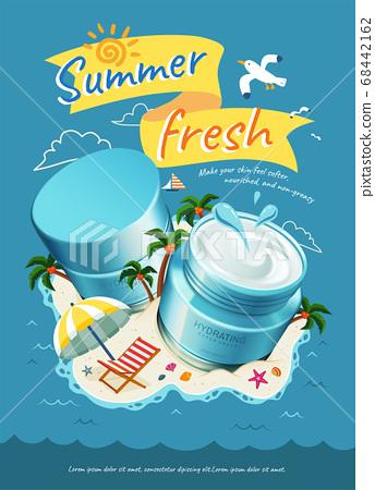 Hydrating cream jars on island 68442162