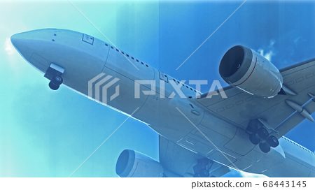 Commercial Jet Plane takes off. 3D render 68443145