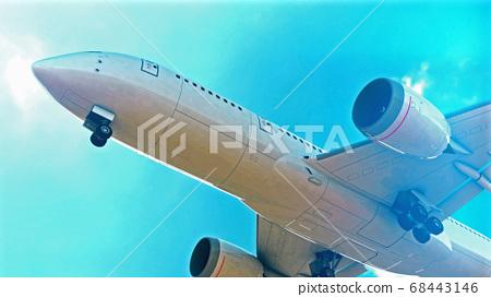 Commercial Jet Plane takes off. 3D render 68443146