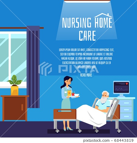 Nursing home patient care poster template - nurse giving food to senior man 68443819