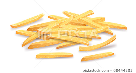French fries Overlapping pile. template design. isolated on white  68444203