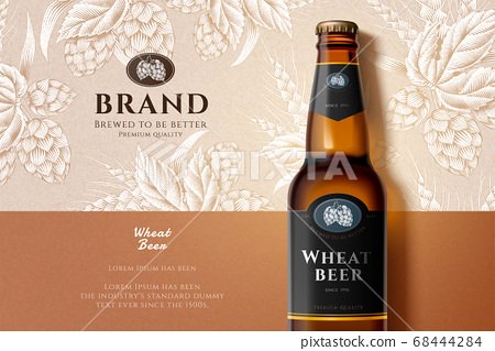 Engraving wheat beer ads 68444284