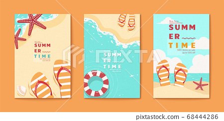 Summer time beach flyer set 68444286