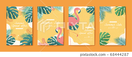 Flamingo and tropical leaves flyer 68444287