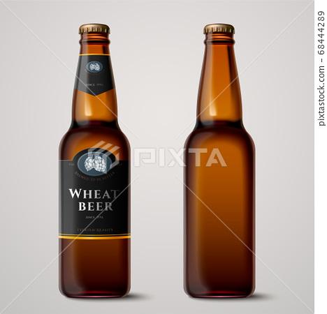 3d wheat beer glass bottles mockup 68444289