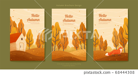 Autumn forest with fox illustration 68444308