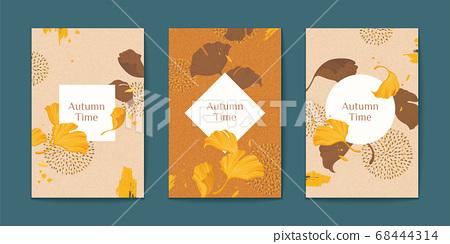 Elegant ginkgo leaves brochure set 68444314