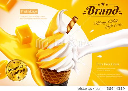 Mango and milk ice cream cone ads 68444319