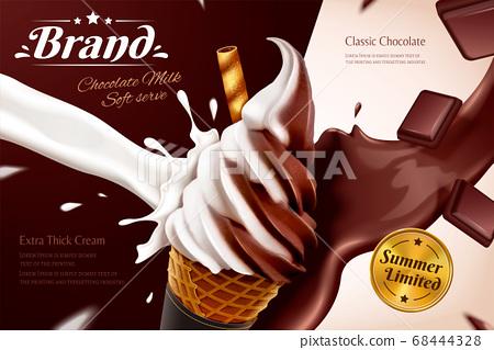 Chocolate soft serve ice cream ads 68444328
