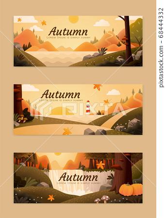 Attractive autumn scenery banner 68444332