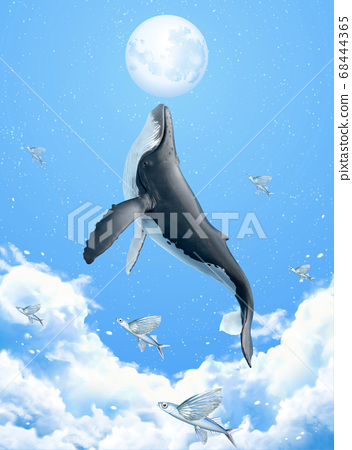 Surreal scene of whale breaching 68444365